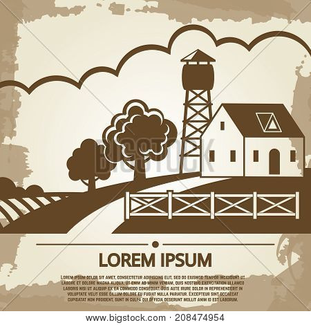 Grunge farm background on vintage page with farm house and text. Vector illustration