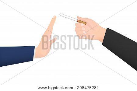 hand give cigarette to refuse smoke hand