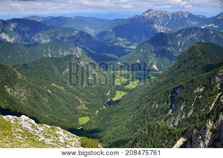 View from Pokljuka mountain on neighborhood mountains, Slovenia