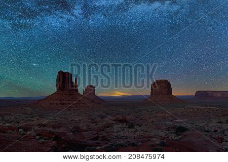 Night sky with stars above Monument Valley, Arizona.