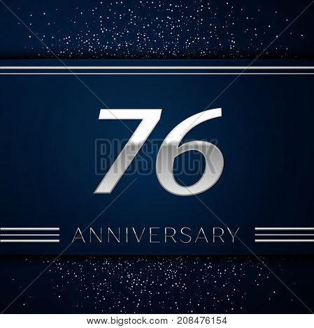 Realistic Seventy six Years Anniversary Celebration Logotype. Silver numbers and silver confetti on blue background. Colorful Vector template elements for your birthday party