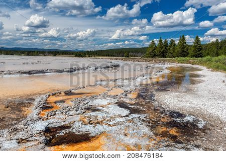 Yellowstone National Park - Beautiful hot springs with vivid color blue green orange in Wyoming.