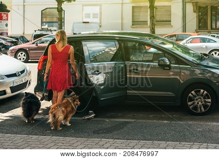 PARIS FRANCE - JUN 24 2017: Young woman opening rear door of a Peugeot minivan after walking a couple of funny Shetland Sheepdogs on a French street