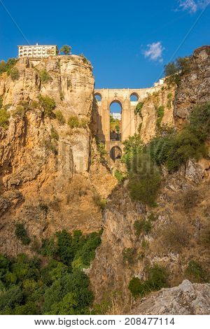 View at the El Tajo gorge with bridge (Puente Nuevo)in Ronda - Spain