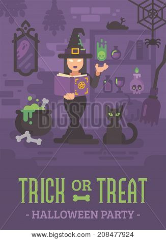 Halloween Poster With A Witch In Her House Studying Magic. Young Sorceress Casting A Magic Spell. Wi
