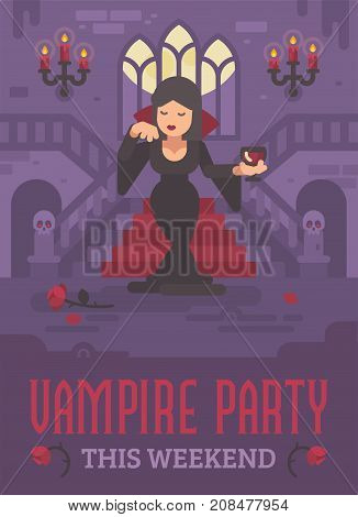 Halloween Poster With Vampire Lady In A Black Dress With A Glass Of Wine Or Blood Standing In The Mo