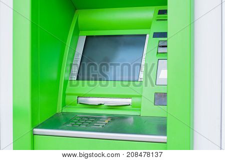 close up shot of atm cash machine