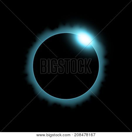 Total eclipse of the sun solar eclipse on black background light effect aqua color