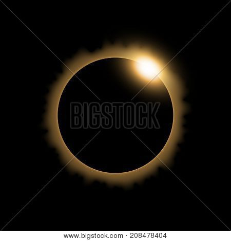 Total eclipse of the sun solar eclipse on black background light effect golden color
