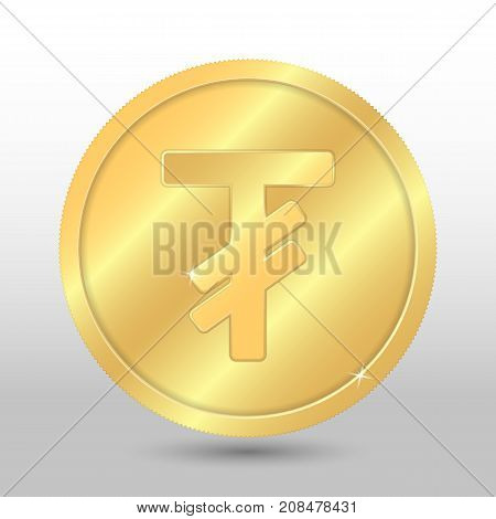 Realistic gold coin with tugrik sign. Vector coin on gray background