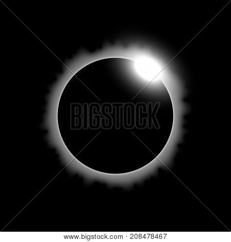 Total eclipse of the sun solar eclipse on black background light effect white color