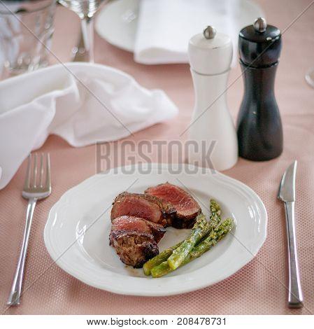 Beef Steak Medium Grilled And Asparagus