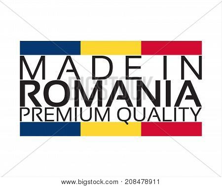Made in Romania icon premium quality sticker with Romanian colors vector illustration isolated on white background