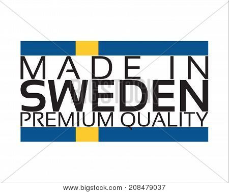 Made in Sweden icon premium quality sticker with Swedish colors vector illustration isolated on white background