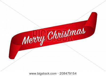 Red curled paper ribbon and Merry Christmas inscription isolated on a white background vector illustration of holiday banner