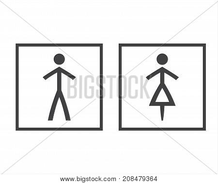 Simple grey wc symbols in squares vector restroom illustration man and woman icons isolated on a white background