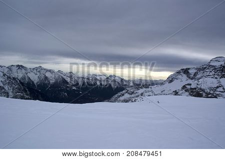 landscape from cazzola peak in italy during winter