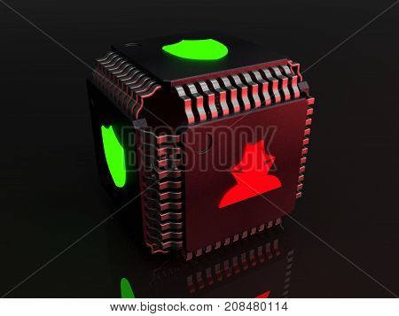Black cube made from cpu's with green shield icons on each side and one red hacker symbol cybersecurity concept 3D illustration