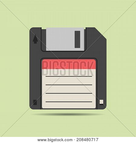 Magnetic floppy disc icon in flat style isolated web icon colored