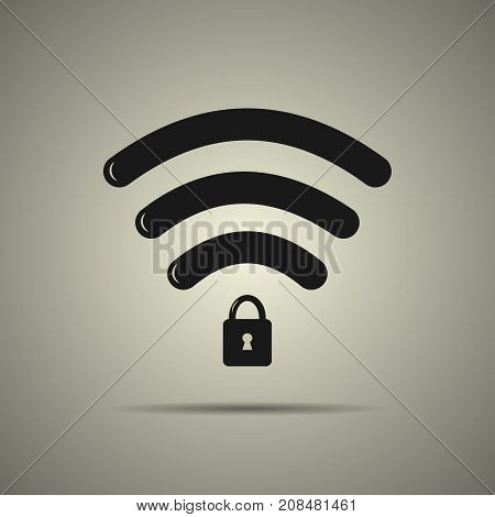 Protected wi-fi icon in flat style black and white colors isolated web icon