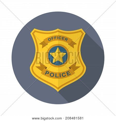Police badge icon shield with long shadow isolated web icon