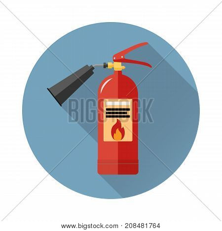 Fire extinguisher icon in flat style with long shadow isolated web icon