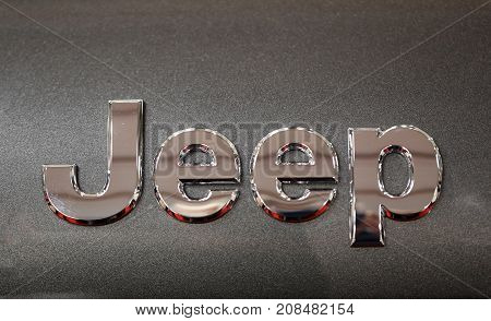 CRACOW POLAND - MAY 20 2017: Jeep metallic logo closeup on Jeep car displayed at MOTO SHOW in Cracow Poland. Exhibitors present most interesting aspects of the automotive industry