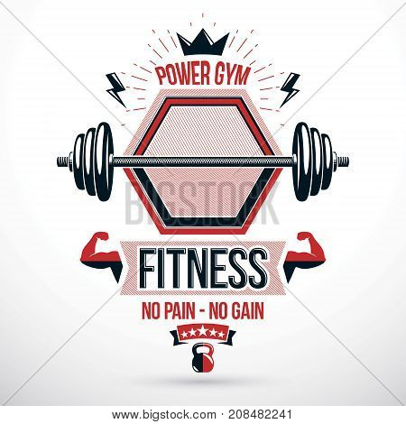 Weight-lifting exercise room vector symbol barbell composed using kettle bell crown and muscular arms of bodybuilder.