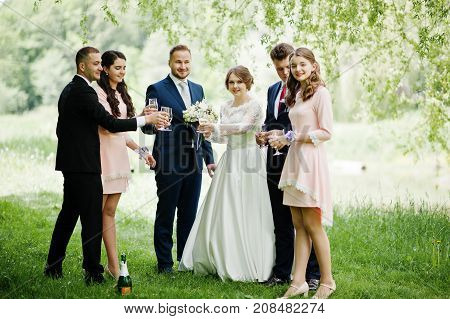 Wedding Couple, Bridesmaids And Groomsmen Drinking Champagne On A Festive Wedding Day In The Park.