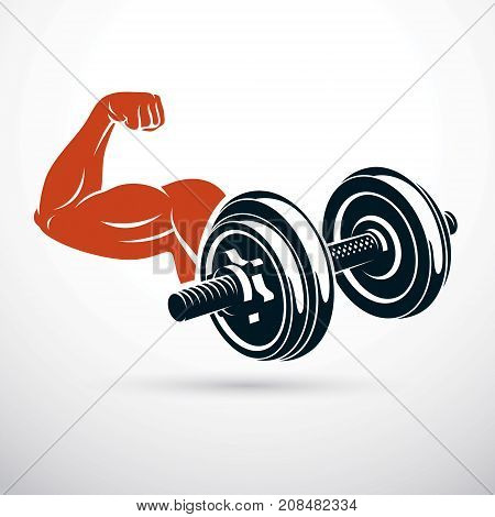 Vector illustration of bodybuilder muscular arm with dumbbell. Power lifting.