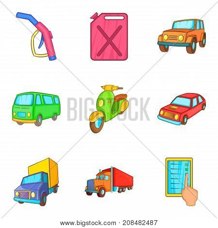 Truck repair icons set. Cartoon set of 9 truck repair vector icons for web isolated on white background