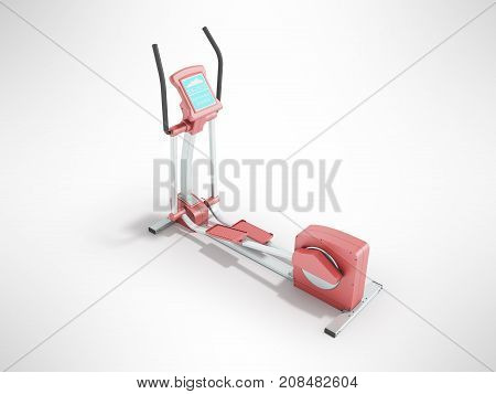Pristine Elliptical Trainer Home Pink 3D Rendering On Gray Background