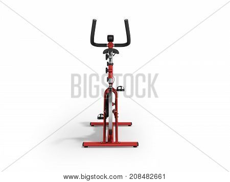 A Sports Bike Home Red In Front 3D Render On A White Background