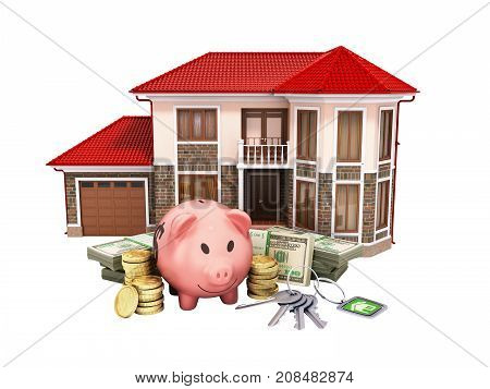 Concept Of Savings To Buy A House Money Pig Dollar Bills In Stacks House 3D Render On White No Shado