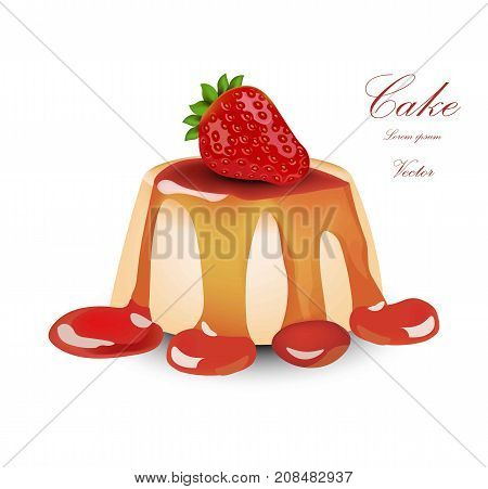 Panna Cotta With Strawberry Syrop. Vector Cake Desserts