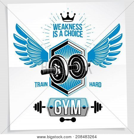 Power lifting competition vector poster composed using disc weight dumbbell and wings. Weakness is a choice lettering.