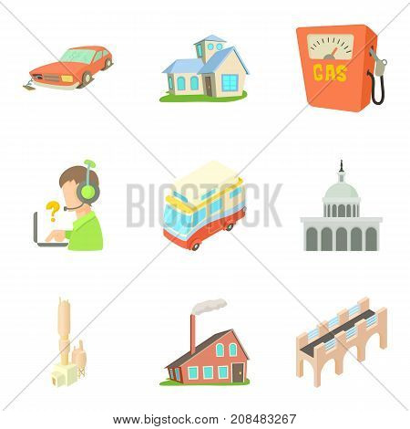 Outskirts icons set. Cartoon set of 9 outskirts vector icons for web isolated on white background