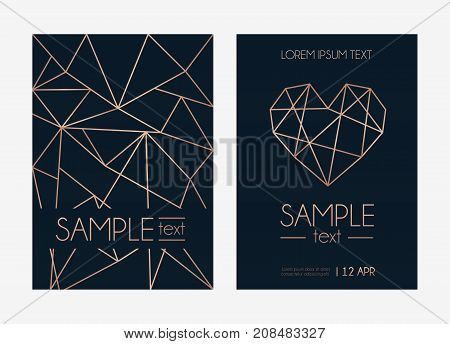 Modern design for wedding invitation, party, anniversary. Navy blue background with geometric rose gold elements. Vector illustration