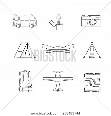 Simple flat tourist icons. Hipster draw of bus plane camp clothes lighter photo camera