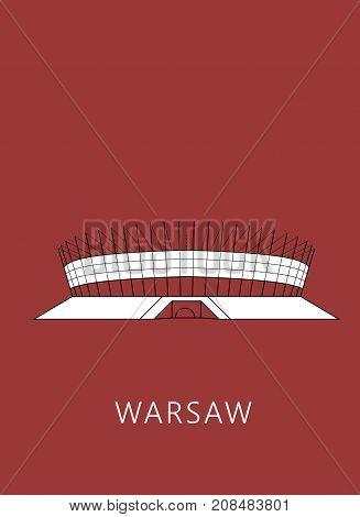 Simple minimalistic illustration of National Stadium in Warsaw (Stadion Narodowy)