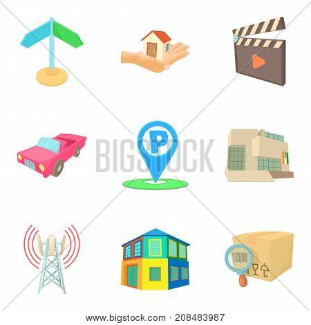 Center of the district icons set. Cartoon set of 9 center of the district vector icons for web isolated on white background