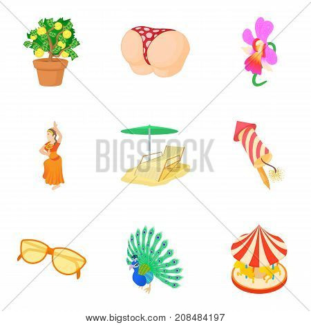 Interesting party icons set. Cartoon set of 9 interesting party vector icons for web isolated on white background