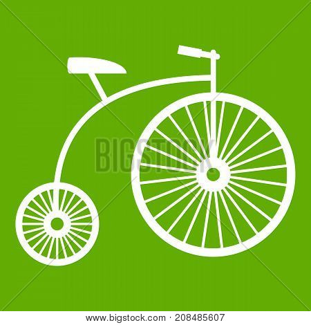 Penny-farthing icon white isolated on green background. Vector illustration