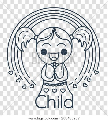 Silhouette Of Childrens Creativity Girl