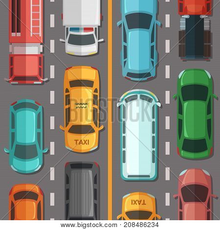 Vector highway road with cars and vehicles top view illustration. Highway traffic on road street