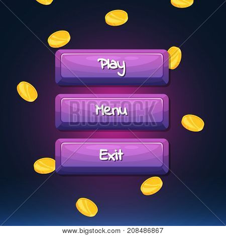 Vector cartoon style wooden buttons with text for game design on coins background. Vector illustration