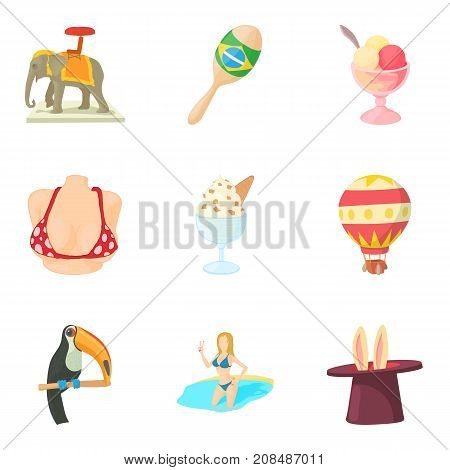 Magnificent performance icons set. Cartoon set of 9 magnificent performance vector icons for web isolated on white background