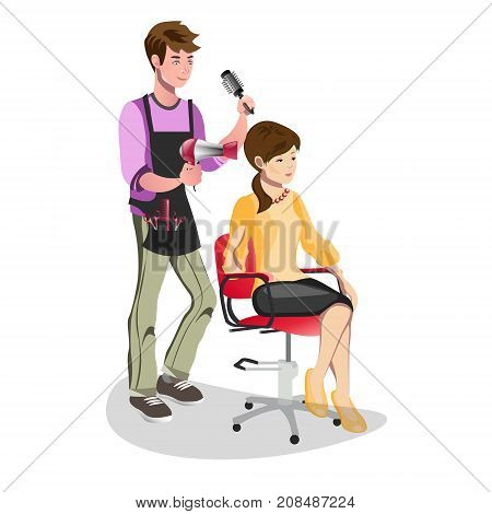 Woman in a beauty salon isolated. Vector illustration poster