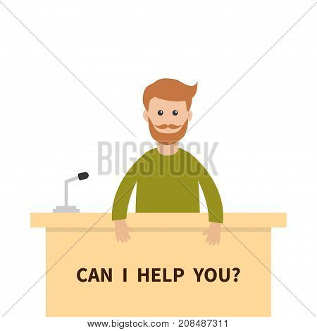 Can I help you. Men male people consultant. Reception service stand. Table Information desk counter microphone. Info support. Cute cartoon character. Flat design White background Vector illustration
