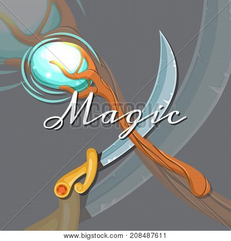 Vector fantasy cartoon style game design medieval crossed magic staff and saber sword elements with lettering and shadows illustration